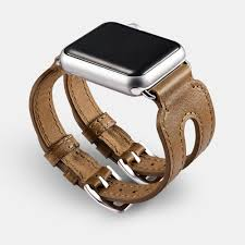 custom leather watch bands classic series double buckle cuff genuine leather watchband for apple watch
