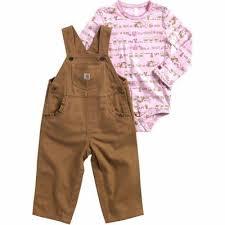 Carhartt Girls Farm Stripe Overall Set Honey Ginger