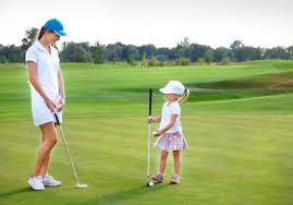 mother and daughter golfing wall mural