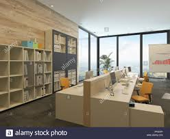 office room plan. Modern Open-plan Office With Multiple Workstations In A Spacious Room Floor-to-ceiling Windows And Bookcases Files Along One Wall Plan