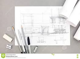Interior Design Concept Paper Interior Hand Drawing Renovation Concept With Paper Rolls