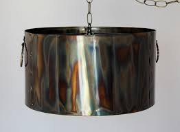 rustic torched metal drum pendant light lamp shade pro
