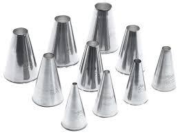 Ateco Tips Chart Ateco 810 10 Piece Plain Tube Set Stainless Steel Pastry Tips Sizes 0 9