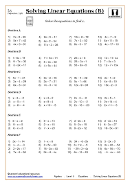 algebra solving equations at ks3 and ks4