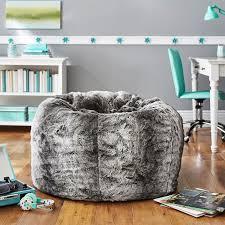 gray ombre faux fur beanbag
