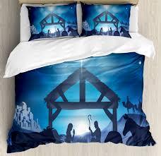 blue duvet cover set birth scene in bethlehem with star barn animals magical night decorative bedding set with pillow shams grey dark blue sky