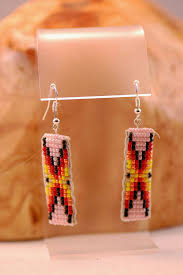 Navajo bead designs Seed Bead Traditional Multi Colored Seed Bead Earrings By Sylvia Spencer Two Dogs Southwest Gallery Beaded Native American Jewelry
