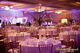 reception decor fl callalillies in trumpet vases gold chiavari white linens