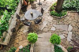 a flagstone patio and walkway