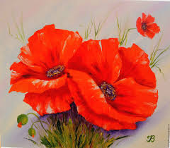 flower painting handmade livemaster handmade bright poppies oil painting flowers