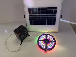picture of solar powered 5050 rgb led strip light kit 44 key remote waterproof