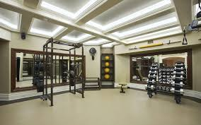 home gym lighting. coffered ceilings and ceiling lighting ideas with mirrored walls also tile floors for home gym d