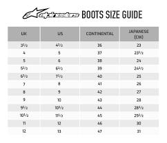 Alpinestar Tech 3 Size Chart Alpinestars Tech 1 K Kart Boots