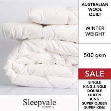 Australian Wool Quilts by Sleepvale Australia| Manchester Collection & Wool Quilt 500GSM Super King Bed Adamdwight.com