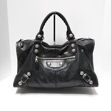 balenciaga giant 21 silver black leather work bag