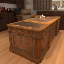 large office desk. Large Wooden Desk Stylish Carved Wood Antique Office 3d Model Resolute Within