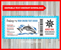 Cruise Gift Certificate Template Cruise Ticket Birthday Gift Printable Boarding Pass Template Surprise Cruise Gift Voucher Certificate Editable Instant Download
