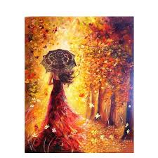 autumn belle acrylic paint by numbers canvas artwork kit diy art by numbers paint by