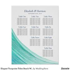 Wave Seating Chart Elegant Turquoise Tides Beach Wedding Table Plan Poster