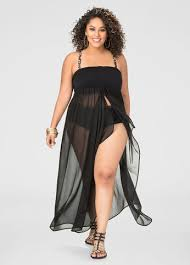 plus size cover up plus size 2 in 1 chiffon swim cover up 059 3389 asblk