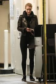 rosie huntington whiteley black jacket leather black nike sneakers black sweater