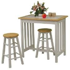 3pc Small Kitchen Table and Chairs Set with Tile Top in White/ Natural  Finish