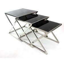 black glass nest of tables chrome legs set of 3 nesting coffee end side table