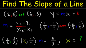 finding the slope of a line given two points and from an equation fractions missing coordinate