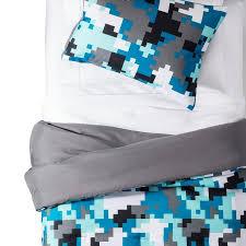pillowfort pixelated blue camo
