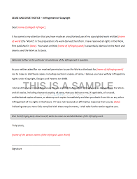 Cease And Desist Letter For Copyright Infringement Template