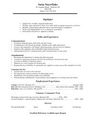 College Student Resume Objective General Job With Template For High