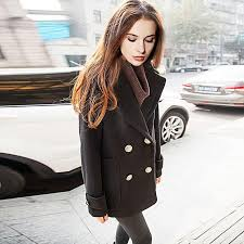 fashion trench coat women double ted turn down collar medium style long cotton outwears black