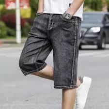 Shorts Jeans Men Loose Wide Leg Grey Elastic Stretch Short Seven Pants Male The Summer New Big Plus Size 28 44 Thin