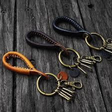 handmade mens brown cowhide leather keychain waist hanging keyfob keyring key holder car pendant key chains gift porte clef remove before flight keychain