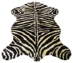 faux zebra skin rug ivory and brown stripe