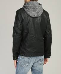 vegan leather jacket with knit hood black hi res