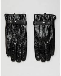 asos leather touchscreen gloves in black vinyl finish for men lyst