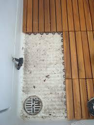 Diy Bathroom Floors Diy Teak Tile Flooring Hardwood Tiles Refresh A Tired Old Boat A