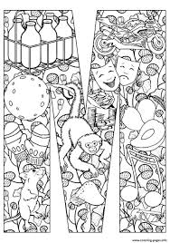 Adult Mouse And Monkey Coloring Pages Printable