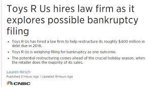 Toys R Us要破产急聘律师债务重组 新闻