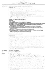 Data Management Resume Sample Data Management Analyst Resume Samples Velvet Jobs