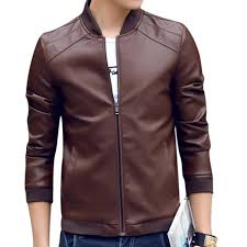 coffee pu leather full sleeve jacket for men