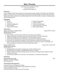 Summer Teacher Resume Sample