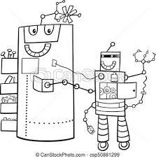 cartoon robots fantasy characters color book csp50881299