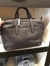 nwt coach f11319 men s hamilton graphite pebbled leather laptop bag briefcase 145 00