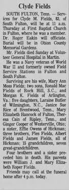 Obituary for Clyde M. Fields (Aged 83) - Newspapers.com