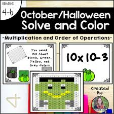 October Halloween Solve And Color Multiplication And Order