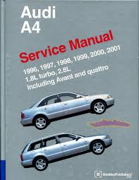 audi manuals at books4cars com 96 2001 audi a4 shop service repair manual by bentley 1 524 pages includes quattro avant 1 8 turbo 2 8 v6 wagon does not cover s4 does have wiring
