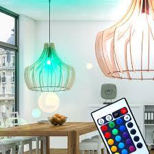 Hänge Leuchte Natur Holz Schirm Esszimmer Lampe Dimmbar Im Set Inkl Rgb Led Leuchtmittel