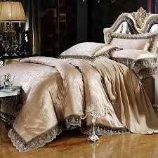 luxury bedding set bed sheet tencel modal satin silk jacquard comforter
